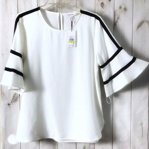 CALVIN KLEIN WHITE  PIPED 3/4 FLARE SLEEVE TOP